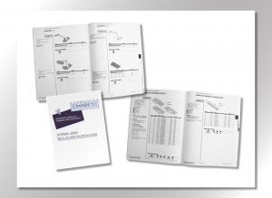 200 plus page Product Specifications Guide, Illustrations derived from CAD drawings, with custom typeface which are the black round numeral dots, the book is intended for designing and pricing interior office spaces.